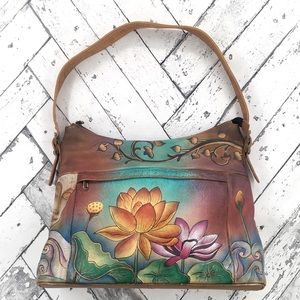 Anuschka Bags - Anuschka Lotus Flower Shoulder Bag